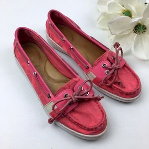"COACH ""Rainey"" Hot Pink Monogram Boat Shoes Size 9"